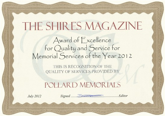 Memorial Award from Shires Magazine